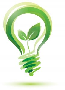 energy audits image of green lightbulb