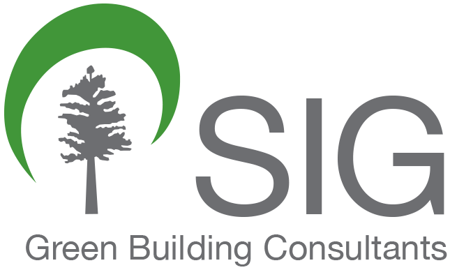Sustainable Investment Group's logo, tree with green swoosh the letters SIG and green building consultants as the tagline